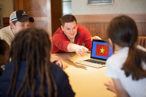 Lafayette student explains the Vietnam flag.