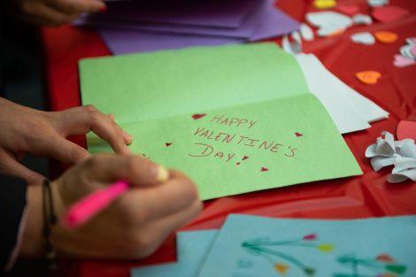 students make cards for children at St. Luke's Hospital