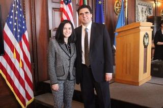 Mila Temnyalova '19 with a Bulgarian diplomat