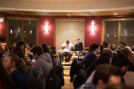 Students answer questions at TNT Trivia