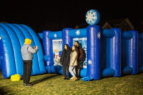 students pose for a photo at winterfest