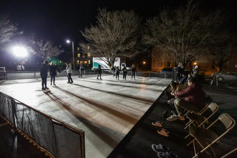 students ice skate at winterfest
