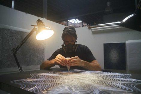 Dan Hill working in the studio.