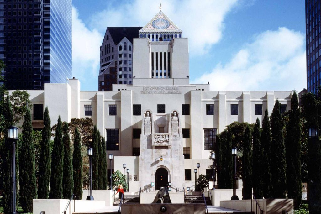 An external image of the L.A. Public Library