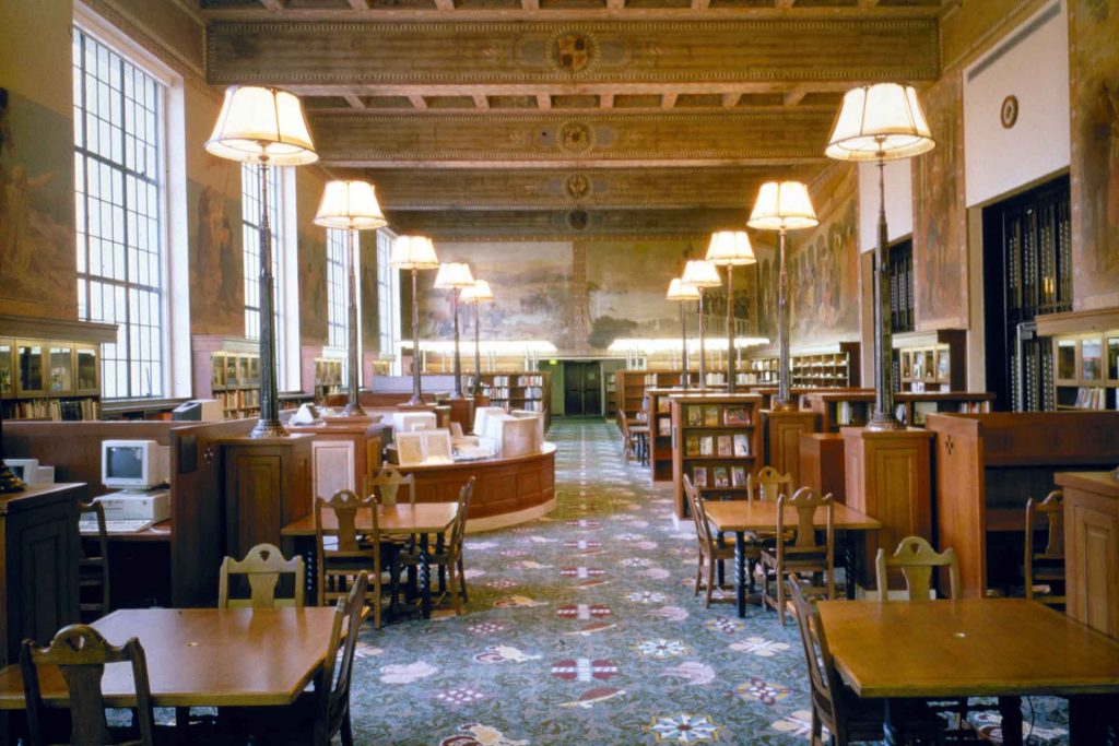 Internal view of an L.A. Public Library reading room.