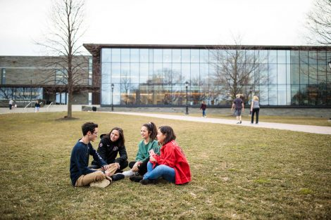 Students lounge on the quad