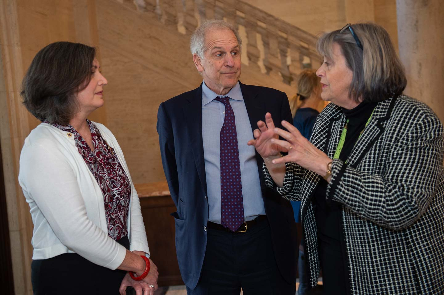 Brent Glass '69 with Elaine Stomber '89 and Diane Shaw at a reception for the launch of the Queer Archives Project
