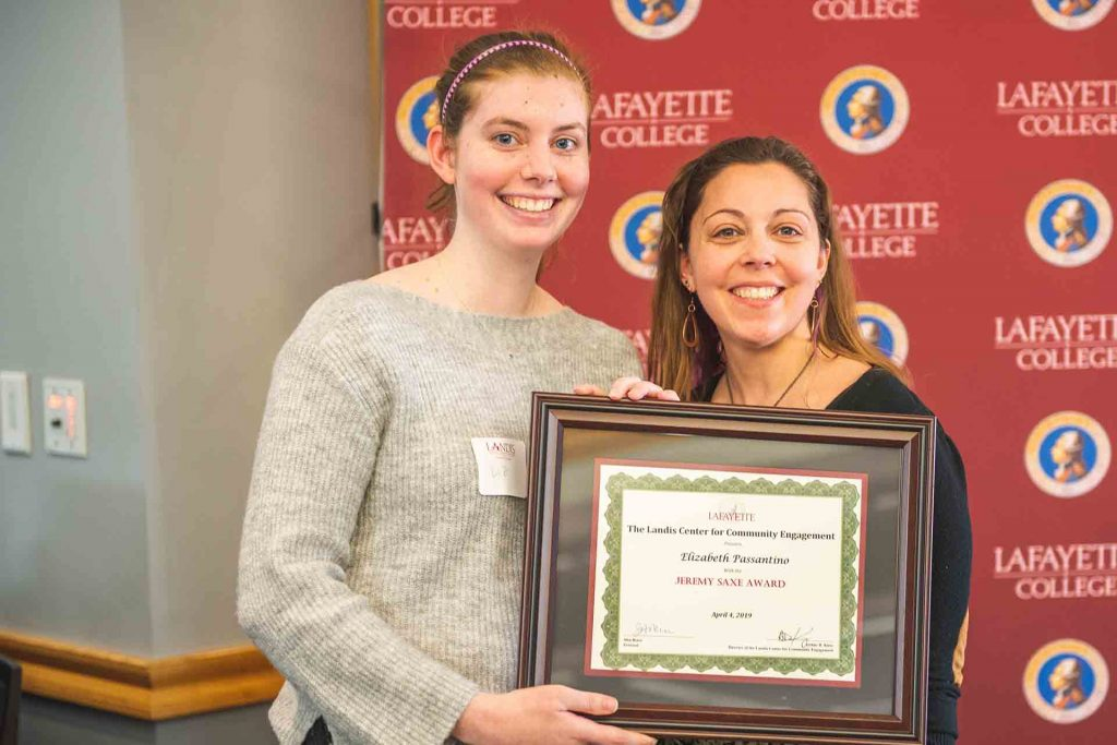 Elizabeth Passantino '19 with Chelsea Cefalu, coordinator of community partnerships