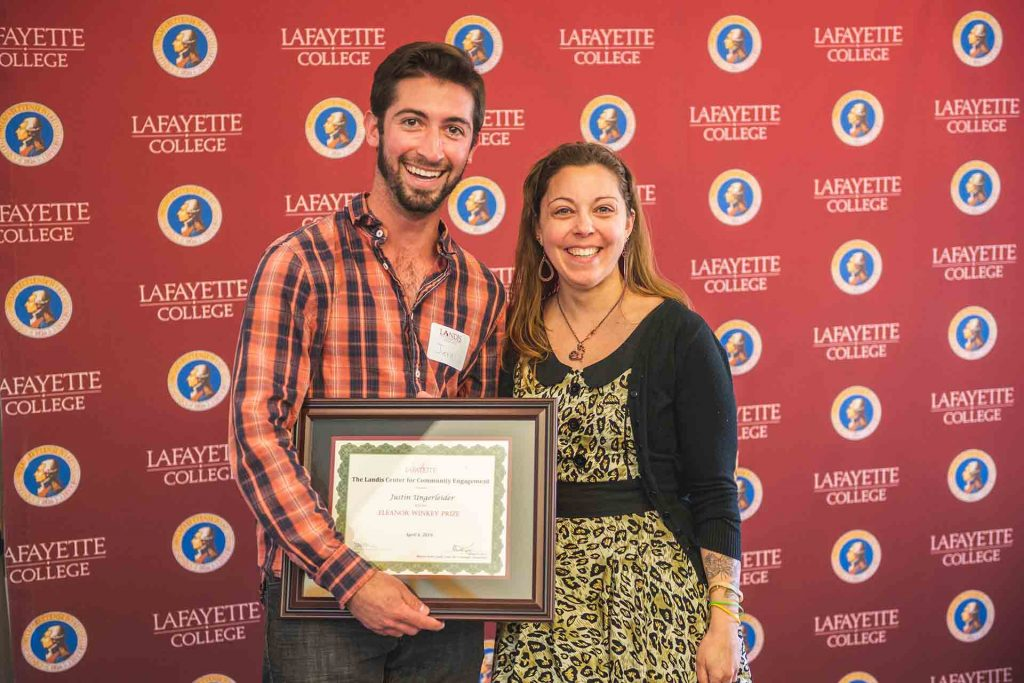 Justin Ungerleider '19 with Chelsea Cefalu, coordinator of community partnerships