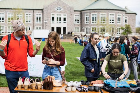 students on the quad enjoying sustainable activities presented by student groups on campus
