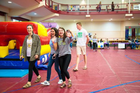 Students walk in kirby sport center to raise money and awareness for the American Cancer Society