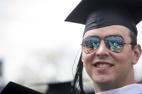 A student wears sunglasses at Lafayette's 184th Commencement.