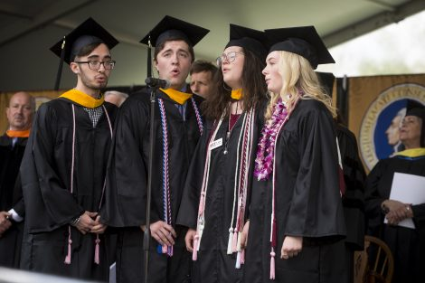Four students sing at Lafayette's 184th Commencement.