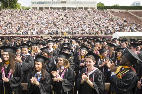 Graduates stand and applaud at Lafayette's 184th Commencement.