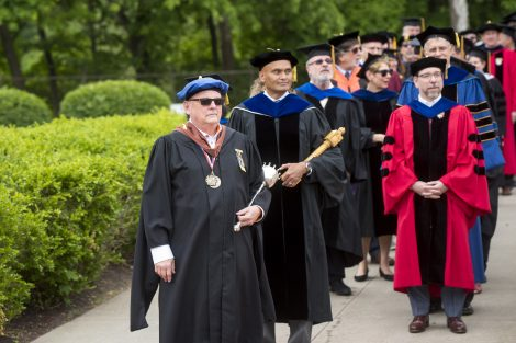 Faculty march in the academic procession preceding Lafayette's 184th Commencement.