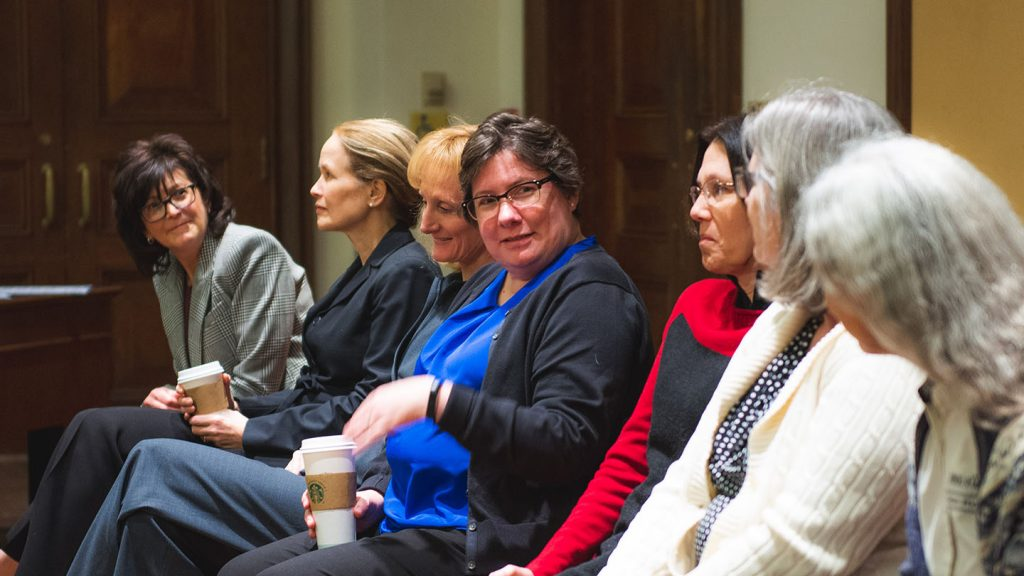 Eight alumni in tech fields returned to campus to talk about their careers for Women In STEM Week.