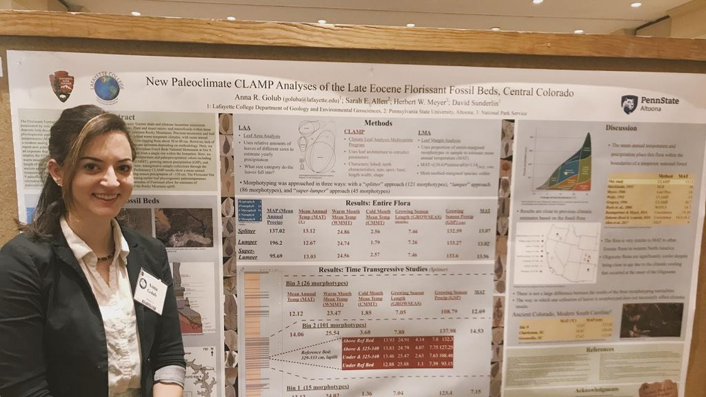 Anna Golub '19 presented research at a geology conference.
