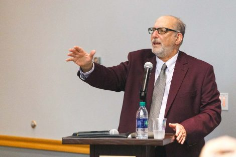 Retiring history professor Bob Weiner speaks at his retirement party