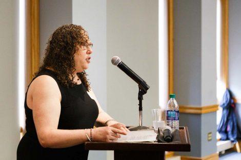 A speaker at retiring history professor Bob Weiner's retirement party