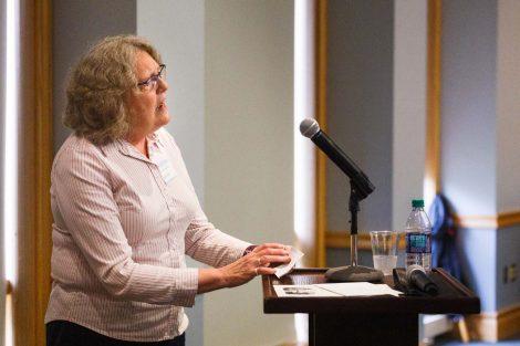Math Professor Liz McMahon speaks at retiring history professor Bob Weiner's retirement party