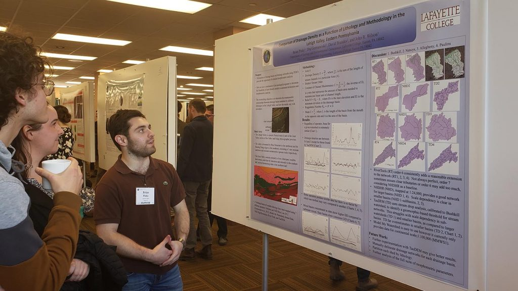 Brian Pinke presented research at a geology conference.