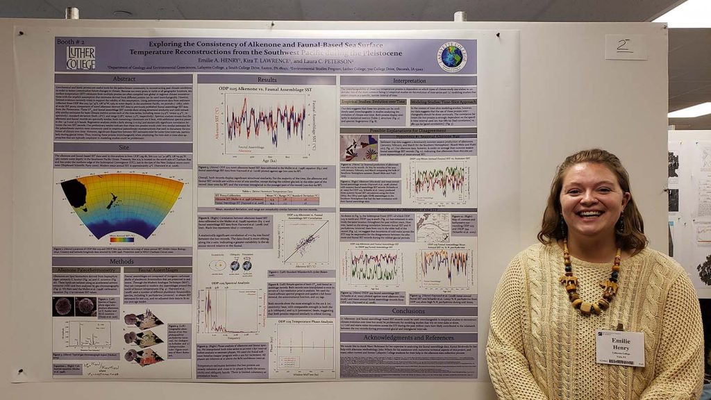 Emilie Henry '19 presented research at a geology conference.