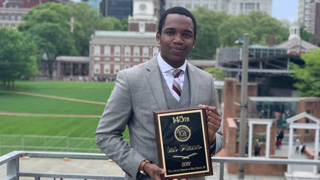 Saeed Malami '20 took home the championship at this year's Interstate Oratorical Association (IOA) tournament.
