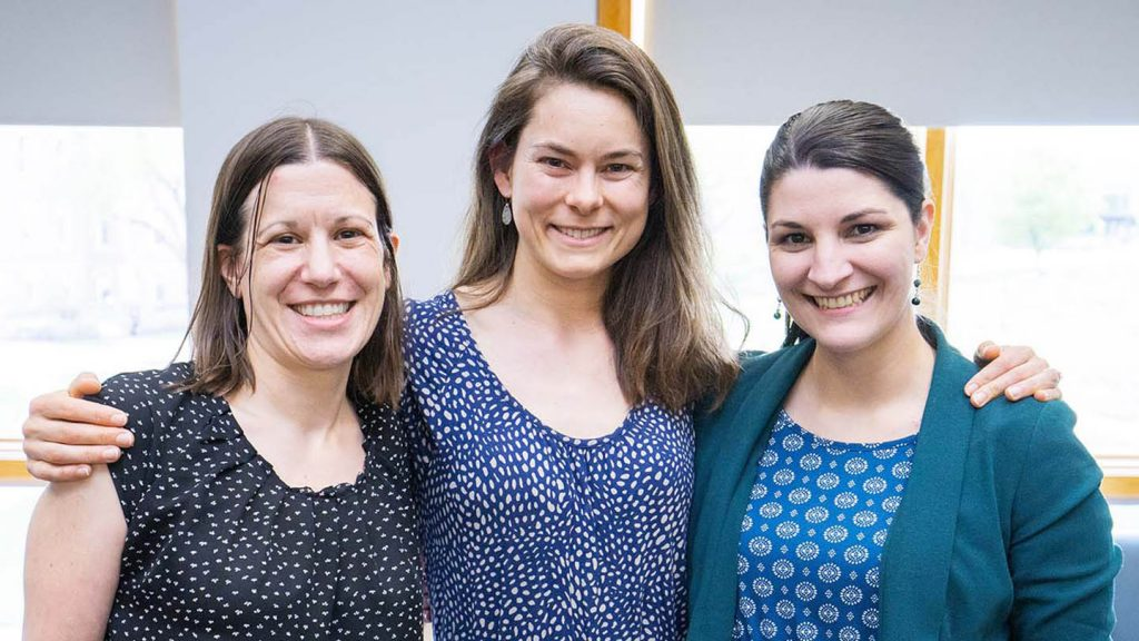 Square 4: Tamara Stawicki, assistant professor of neuroscience; Annie DeSaussure, assistant professor of French; Allison Lewis, assistant professor of mathematics; Polly Piergiovanni, professor of chemical and biomolecular engineering (not pictured)