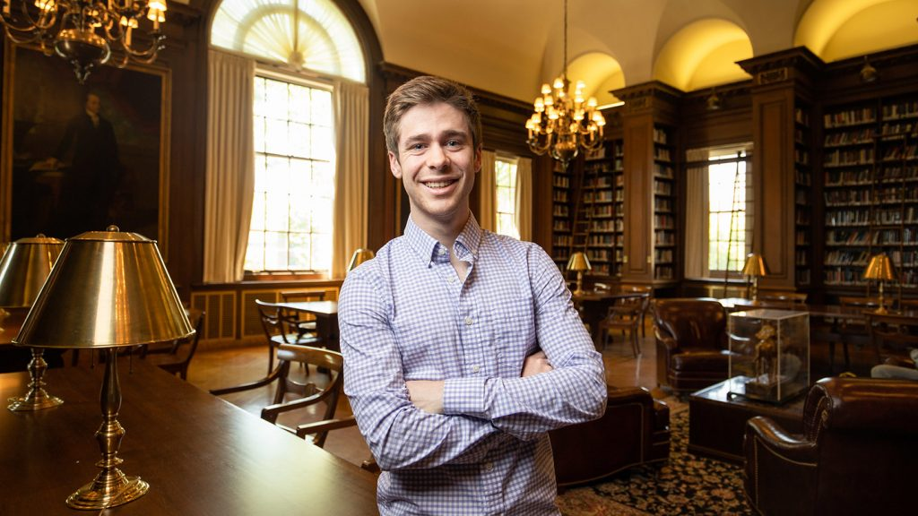 Connor Burwell '19 in Kirby Library