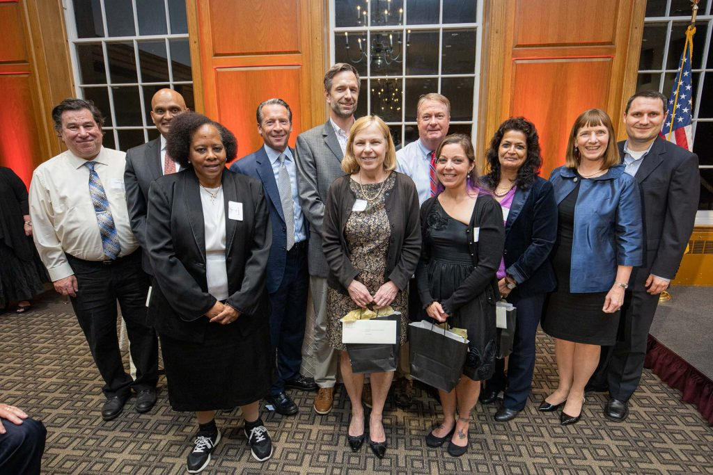 Members of the Steering Committee and Technology Support Team for the Middle States Accreditation Review: Louis Zulli (L-R), Abu Rizvi, Alma Scott-Buczak, Michael Heaney, Markus Dubischar, Carol Rowlands, Roger Clow, Chelsea Cefalu, Alison Byerly, and Joshua Smith