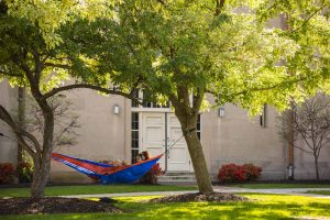 students relax on lafayette's quad on a warm sunny day