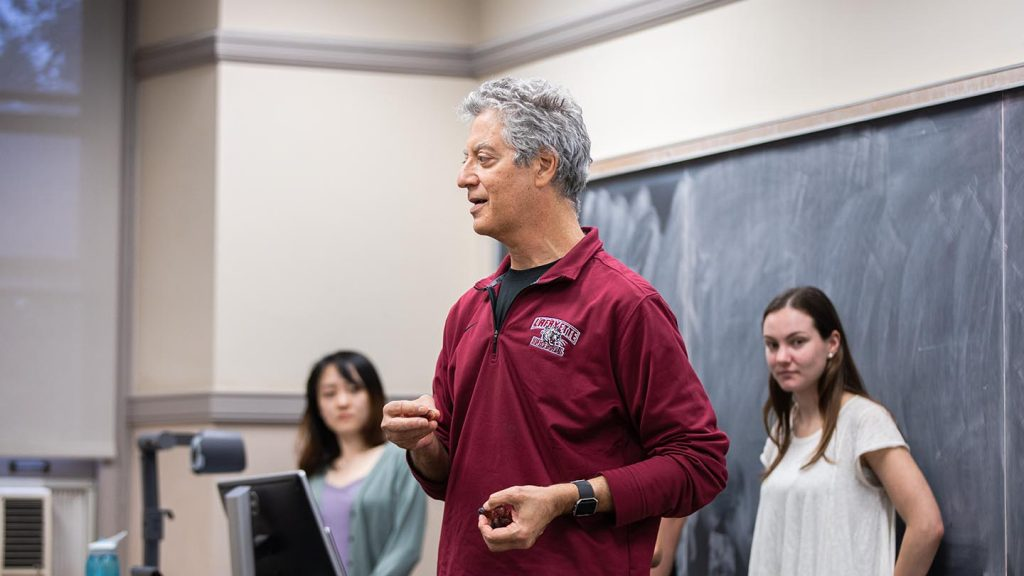 Prof Gary Gordon interacts with his Operations Research class.
