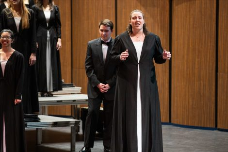 A soloist performs during the spring concert of the Concert Choir and Chamber Singers in the Williams Center for the Arts.