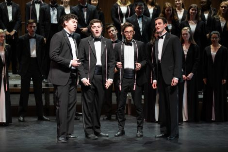 A male quartet sings during the spring concert of the Concert Choir and Chamber Singers in the Williams Center for the Arts.