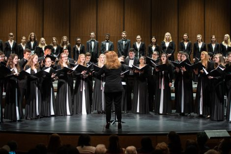 Conducted by Jennifer Kelly, students sing in the spring concert of the Concert Choir and Chamber Singers in the Williams Center for the Arts.