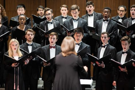 Students sing in the spring concert of the Concert Choir and Chamber Singers in the Williams Center for the Arts.