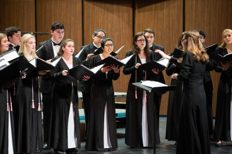 The Concert Choir and Chamber Singers perform the annual spring concert at the Williams Center for the Arts.