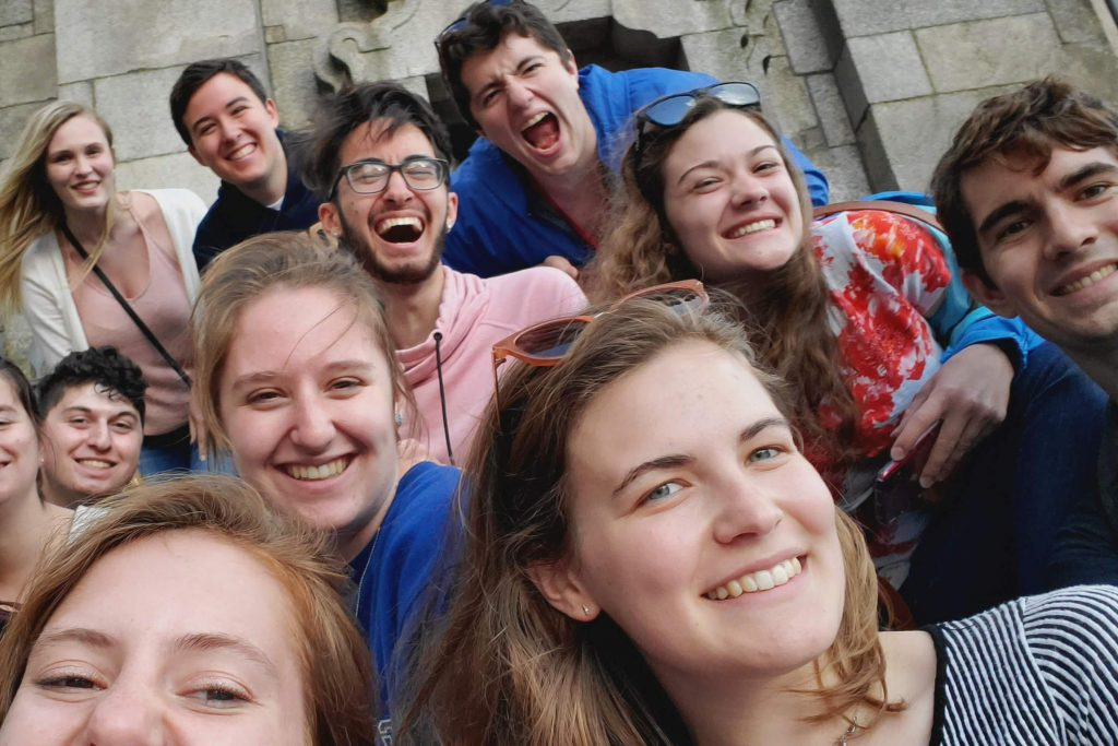 Emily and fellow choir members mug for the camera on their trip to Portugal.