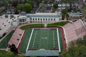 An aerial view of Lafayette College's Fisher Stadium and Kirby Sports Center