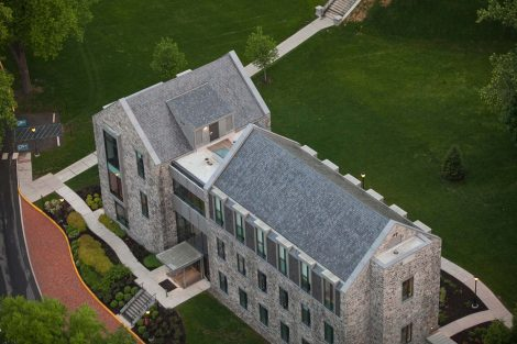 An aerial view of Lafayette College's Oechsle Center for Global Education