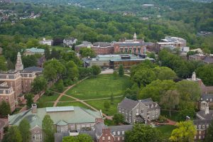An aerial view of Lafayette College's Quad and many of its buildings