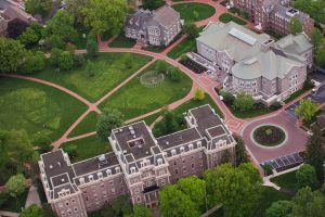 An aerial view of Lafayette College's Pardee Hall, Farinon College Center, and Hogg Hall