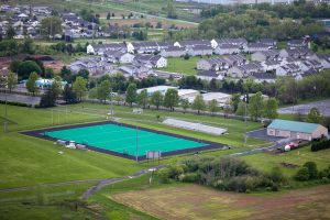 An aerial view of Lafayette College's Rappolt Field for field hockey