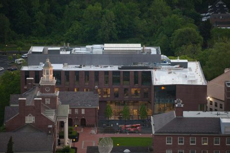 An aerial view of Lafayette College's Rockwell Integrated Sciences Center