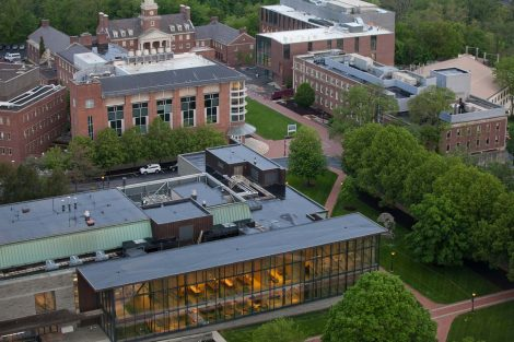 An aerial view of Lafayette College's Skillman Library, Hugel Science Center, Acopian Engineering Center, and Watson Hall
