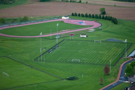 An aerial view of Lafayette College's soccer field at Metzgar Fields