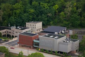 An aerial view of Lafayette College's Buck Hall