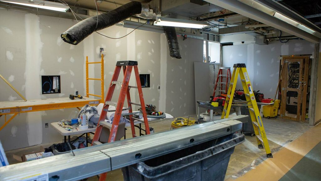 The chemical engineering meeting room as renovation was in process
