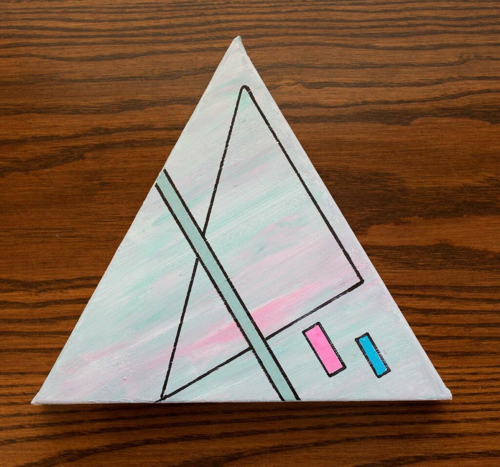 Artwork by Howard Schoor featuring a triangle with a line through it and two rectangles