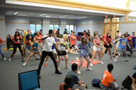International students dancing